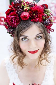 Stunning red flower crown by Flowers by Kirsty