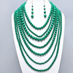 Bold Teal Green Pearl Bead Multi Strand Statement Chunky Jewelry Necklace Set