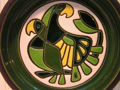 Vintage-Mid-Century-Modern-Artesania-Rinconada-Green-Parrots-Bowl-Dish-Plate