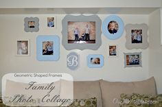 Our Thrifty Ideas: Shaped Frames in a Family Photo Collage  @Maxine Zerilli thought you might like to see this.