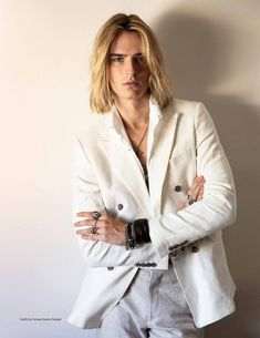 Luke Eisner wearing Gianni Feraud and photographed by Mitchell Nguyen McCormack for DaMan Magazine 2020 Guy Haircuts Long, Boys Long Hairstyles, Hippie Boy, Hair Magazine, Blonde Guys, Aesthetic Hair, Blonde Beauty, Hot Blondes, Attractive Men