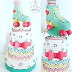 Bolo patinação #patinação #patins #bolopatins #locacaodebolo #alugueldebolo Bolo Fake, Son Luna, Cake, Birthday, Party, Instagram, Roller Skating Party, Creative Cakes, Rolling Skate