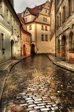 ***Rainy day on cobblestone street (Prague, Czech Republic) by Greg Woolliscroft ☔️cs. Wonderful Places, Beautiful Places, Travel Around The World, Around The Worlds, Places To Travel, Places To Visit, Beautiful Buildings, Modern Buildings, Modern Architecture