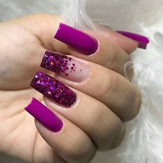 Cute Nails, Pretty Nails, My Nails, Cute Acrylic Nail Designs, Best Acrylic Nails, Nail Designer, Homecoming Nails, Purple Nails, Color Nails