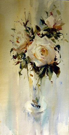 Watercolor floral still life by Laurentino Martí Watercolor Drawing, Abstract Watercolor, Watercolor Illustration, Painting & Drawing, Watercolor Paintings, Watercolours, Nature Paintings, Beautiful Paintings, Abstract Flowers