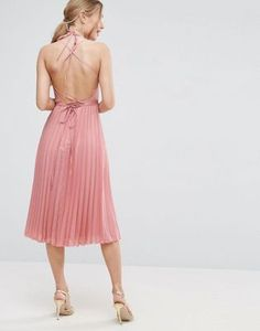 ee34803d281 ASOS Wrap Front Pleated Midi Dress at asos.com