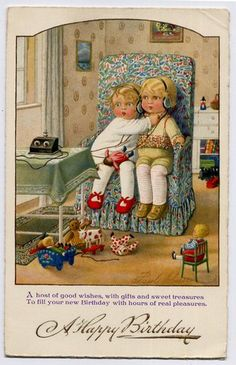 Boy and Girl Children with Crystal Radio Old Birthday Postcard by Pauli Ebner | eBay