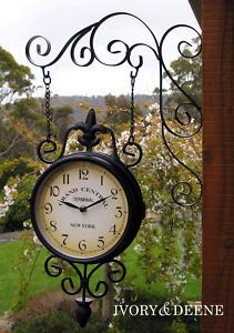 Train station garden clock.  We had something similar to this in our garden, surrounded by a prolific Pierre de Ronsard climbing rose. Sadly this style of clock tends to fade  & lose its beauty when in direct summer sun.