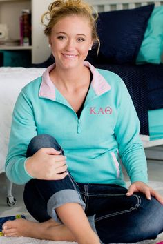 Show off your Greek pride with these embroidered sorority letter pullovers. Choose from 21 licensed college sororities. Cute and comfy, this top is perfect for when you are on the go, whether your headed to class, to the gym, or simply lounging in your school dorm room.  The bright colors and adorable pattern will make this sweater one of the go to pieces in your wardrobe.  These pullovers can be ordered here: http://www.tippytoad.com/greek-sorority-quarter-zip-pullovers.asp