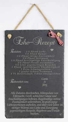 - Slate wedding personal Engraving marriage recipe – wall decoration – wall design – handmade with love in Herzebrock-Clarholz, Germany by Feiner-Tropfen-de Wedding Planning Notebook, Wedding Planning Quotes, Planning A Small Wedding, Wedding Ideas, Recipe For Marriage, Slate Wedding, Chalkboard Wedding, Wedding Scrapbook, Wedding Gifts