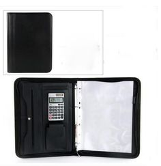 Executive leather folder zipper padfolio business organizer IPAD mobile documents holder ring binder
