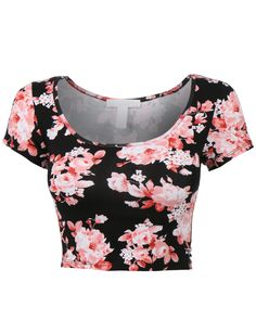 Womens Fitted Short Sleeve Scoop Neck Floral Print Crop Top with Stretch