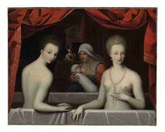 School of Fontainebleau, c. 1600  Gabrielle d'Estrés and her sister, the duchess of Villars