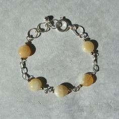 Honey white Calcite Bracelet Natural Stone by FirethornPlanet