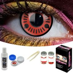 Black Out Contact Lens Complete Set White Contact Lenses, Eye Contact Lenses, Coloured Contact Lenses, Cat Eye Contacts, Halloween Contacts, Hazel Color, Eye Color, Red Colour, Non Prescription Contact Lenses