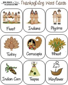 Thanksgiving Word Cards & Activities