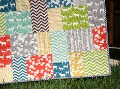 Modern Elk Quilt, Deer Blanket, Gender Neutral, Chevron, Coral Brown Yellow Green Teal Blue, Birch Organic Fabrics, Big Block, Soft Crib Cot Handmade Quilt by SunnysideDesigns2