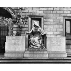 Muse of the Arts Statue in front of the Boston Public Library Boston Massachusetts USA Canvas Art - (18 x 24)