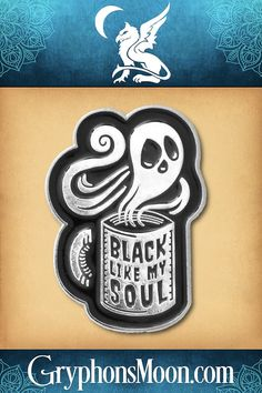 """""""Black Like My Soul"""" Enamel Pin - How do you like your coffee? Just as black as the darkness within, thank you very much! I was not made to be sweet. I was made to be strong, stimulating… and slightly bitter. Our enamel pins are just right for wearing on jackets, lanyards, hats, purses, backpacks, or just about anywhere. Find the perfect combo to express your unique personality with pizzazz. #Coffee #BlackCoffee #CoffeeLover #Caffeine #Black #EnamelPin #LapelPin #PinCollector Black Like Me, Moon Logo, Great Father's Day Gifts, Photo Quotes, Black Coffee, Lapel Pins, Fathers Day Gifts, Special Events, Lanyards"""