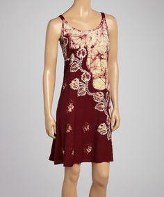 Another great find on #zulily! Chocolate & Cream Floral Scoop Neck Dress #zulilyfinds