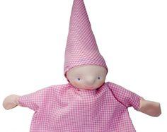 hand puppet checkered soft pink children puppet by atelierdymfy, €35,00