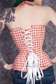 Hellbilly Chic corset with push-up bra cups by SinnerCouture