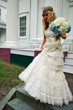 Alicia Bell designed and constructed her own wedding gown made from vintage lace she has collected for years, even lace from her Grandma's collection.  The dress tells a story much like everything else adapted by Bell...
