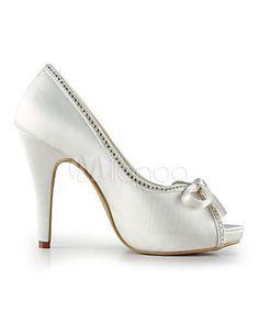 Ivory Platform Peep Toe Bow Satin Bridal Wedding Shoes a472588f25b4