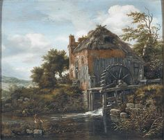 Thatch-Roofedhouse with a water Mill Jacob van Ruisdael Open picture Hongkong China Wholesale Oil Painting Reproductions Landscape Prints, Landscape Paintings, Fine Art Prints, Canvas Prints, Dutch Golden Age, Water Mill, Dutch Painters, Famous Art, Old Paintings