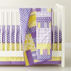 Not Your Grandma S Crib Bedding Land Of Nod Cute Purple And Yellow