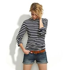 Striped long sleeve, brown belt and rolled jean shorts