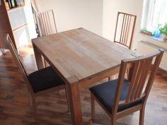 Tisch nach Maß (gekauft bei Holzconnection) an Selbstabholer abzugeben. Tischgröße: 120x80x75cmAnsteckplatte: 40x80x75cm--> Gesamtgröße 160x80x75cmStärke der Beine: 8x8cmHolz: Buche Die 4 abgebildeten Stühle sind ebenfalls abzugeben Dining Table, Furniture, Home Decor, Kitchen Dining Rooms, Dinner Table, Legs, Timber Wood, Essen, Decoration Home