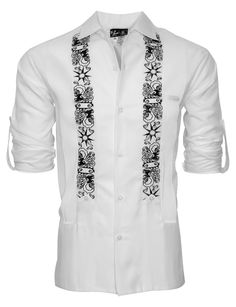 "This Limited Edition ""White Clouds with Black Stars"" Y.A.Bera guayabera shirt for the lucky few. Our White Lux Linen blend is soft to the touch and amazingly lightweight. With ""The Clouds Part"" artwork from a young Venezuelan based artist embroidered black threading makes it a must have for any man's wardrobe. Featuring two large waist pockets that can easily fit any phone or wallet and a small ""cigar pocket"" at the chest that can be used to hold a pen, glasses or of course, a cigar."