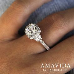 Gabriel & Co.-Voted #1 Most Preferred Fine Jewelry and Bridal Brand. 18k White/Rose Gold Cushion Cut 3 Stones Halo Engagement Ring