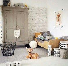 Gray black white deer Scandinavian nursery painted wardrobe.