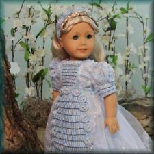 """MHD Designs """"Cascade Romantique"""" OOAK Regency Ensemble, rows of pleats with double overlay beaded skirt, swirl flowers, matching headband with swirl flowers and beaded centers, and matching pantaloons, by Magalie at MHD Designs via eBay SOLD 5/10/13 $810.00"""