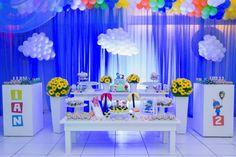 Adorei as nuvens de balão Baby Boy Birthday, 3rd Birthday Parties, Birthday Cakes, Birthday Ideas, Baby Party, Birthday Decorations, First Birthdays, Party Time, Couture Cakes
