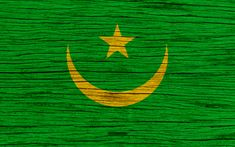 Download wallpapers Flag of Mauritania, 4k, Africa, wooden texture, Moorish flag, national symbols, Mauritania flag, art, Mauritania