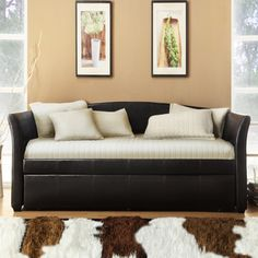 @Overstock - TRIBECCA HOME Deco Dark Brown Faux Leather Daybed with Trundle - Spruce up the most neglected room in your house, the guest room, with this elegant daybed with trundle. With a solid hardwood frame covered in attractive brown vinyl, this daybed can also be used as an extra seating option in your home office.  http://www.overstock.com/Home-Garden/TRIBECCA-HOME-Deco-Dark-Brown-Faux-Leather-Daybed-with-Trundle/6265725/product.html?CID=214117 $487.99