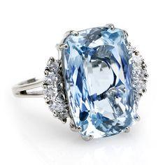 Birks - Vintage Rectangular step cut light green blue aquamarine, weighing 16.47 carats, and 10 round brilliant cut diamonds ...