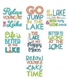 Lakeside Sayings Designs by JuJu Machine Embroidery Designs