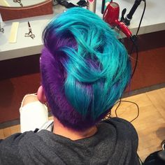 Another shot of the violet & turquoise faux hawk. From long blonde hair with…