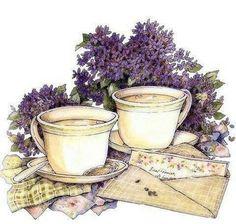 Time for tea Decoupage Vintage, Decoupage Paper, Vintage Ephemera, Vintage Paper, Decoupage Furniture, Tee Kunst, Decoupage Printables, Lavender Flowers, Lavander