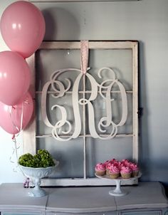 Large Cut Out Wood Monogram...hang monogrammed wreath I made on my antique window
