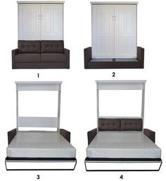 Really cool murphy bed with couch. Great for tiny home or studio apartment. #murphybed #spacesaver #ad #tinyhouse