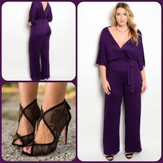 Purple Jumpsuit/Last one/5⭐️⭐️⭐️⭐️⭐️Rated This very pretty jumpsuit features a self tie waist, V neckline and back. Soft and comfortable knit material. 65% Rayon, 35% Viscose. ❌Shoe pic from Pinterest, not available❌ (This closet does not trade or use PayPal ) True Light Pants Jumpsuits & Rompers