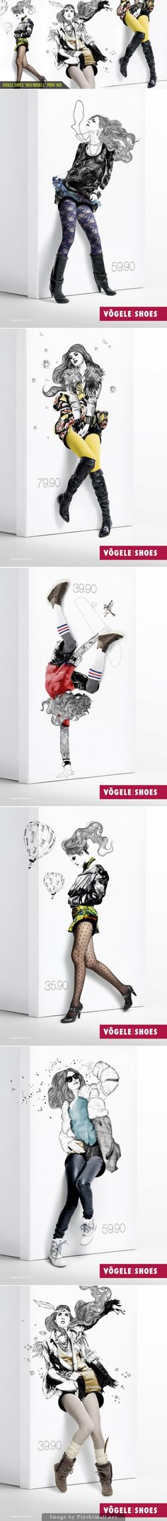 Integrating fashion and packaging in these lovely shoebox model ads by Jung Von Matt / Limmat for Voegel shoes curated by Packaging Diva PD