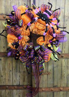 Halloween Mesh Wreath on Etsy, $80.00