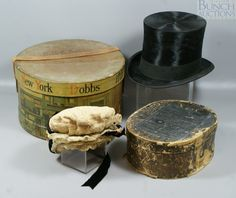 One Victorian lace bonnet with black ribbon, circa 1873, possibly original box from New York, together with a top hat from Knox, NY in a Dobbs hatbox