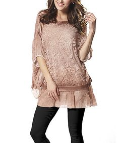 Another great find on #zulily! Pink Lace Dolman Tunic #zulilyfinds